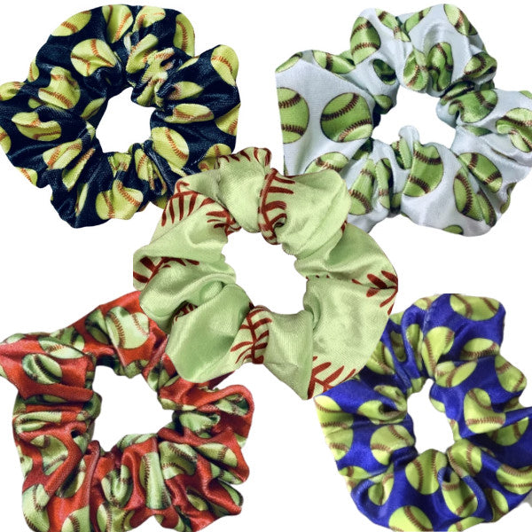 girls softball scrunchies