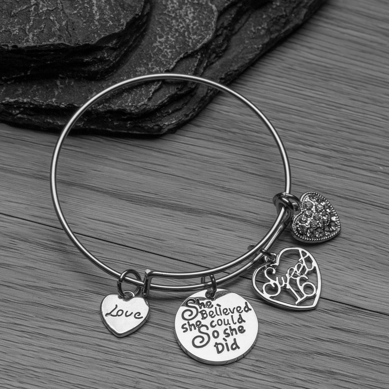 Sweet 16 Bangle Bracelet - She Believed She Could