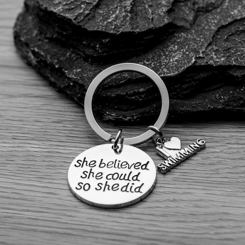 Swim She Believed She Could So She Did Keychain