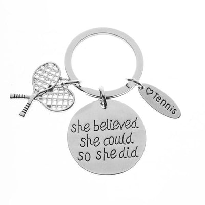 Tennis She Believed She Could So She Did Keychain - Sportybella