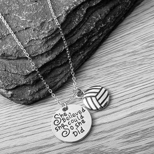 Volleyball She Believed She Could So She Did Necklace