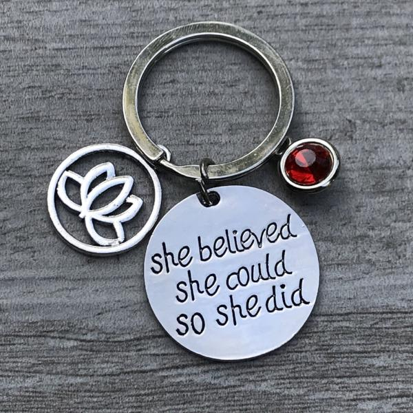 Personalized Yoga Lotus Inspirational Keychain with Birthstone Charm