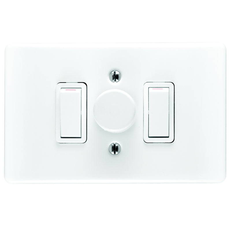 CRABTREE CLASSIC DIMMER SWITCH 3 LEVER + COVER 4X2 800W