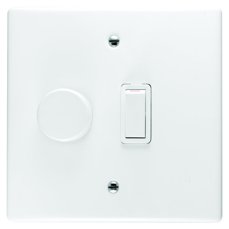 CRABTREE CLASSIC DIMMER SWITCH 1 LEVER + COVER 4X4 600W