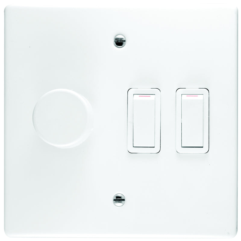 CRABTREE CLASSIC DIMMER SWITCH 2 LEVER + COVER 4X4 600W