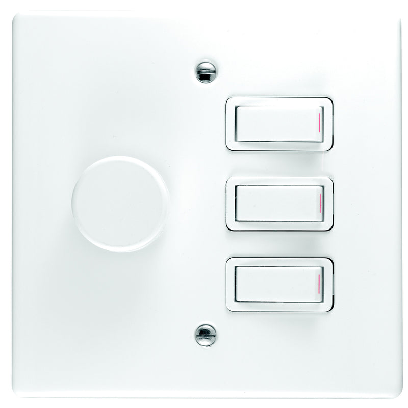 CRABTREE CLASSIC DIMMER SWITCH 3 LEVER + COVER 4X4 600W