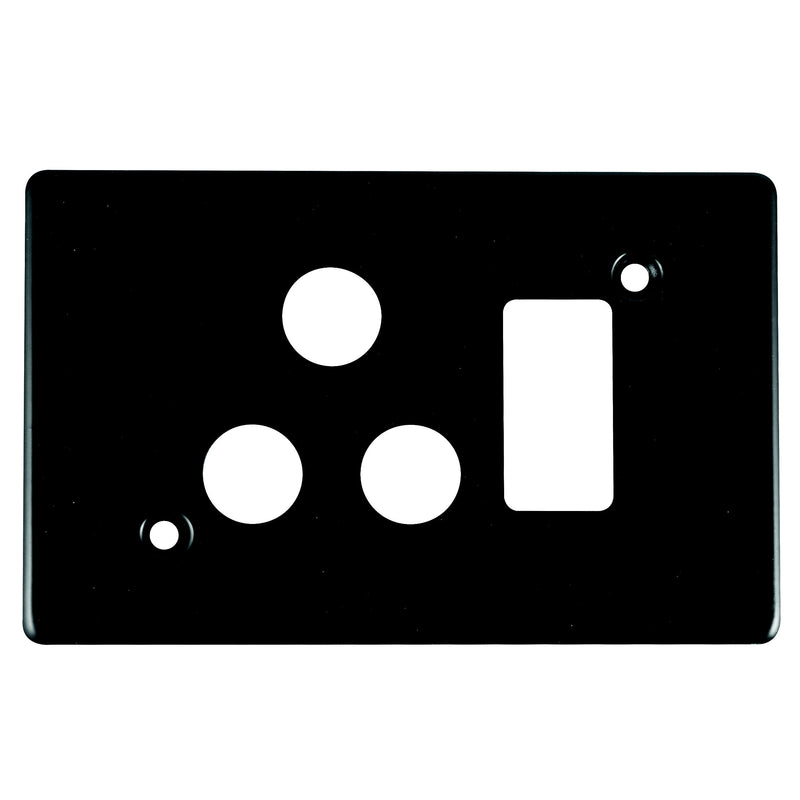 CRABTREE CLASSIC SINGLE SOCKET COVERPLATE STEEL 4X2- HORIZONTAL