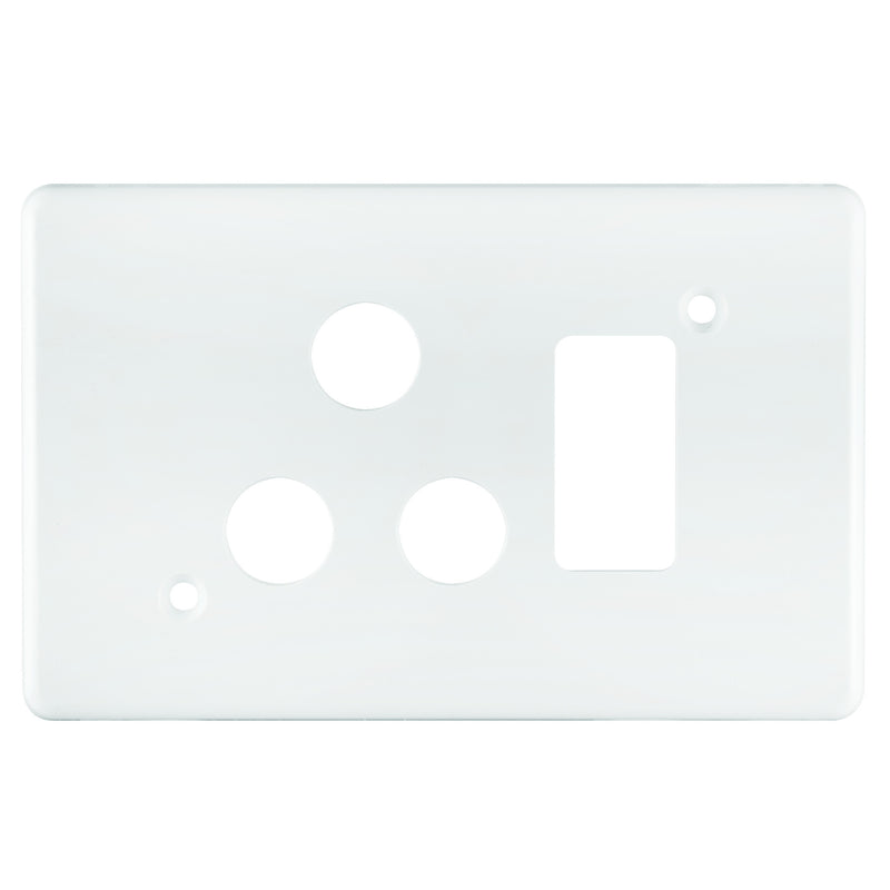 CRABTREE CLASSIC SINGLE SOCKET COVERPLATE PLASTIC 4X2- HORIZONTAL