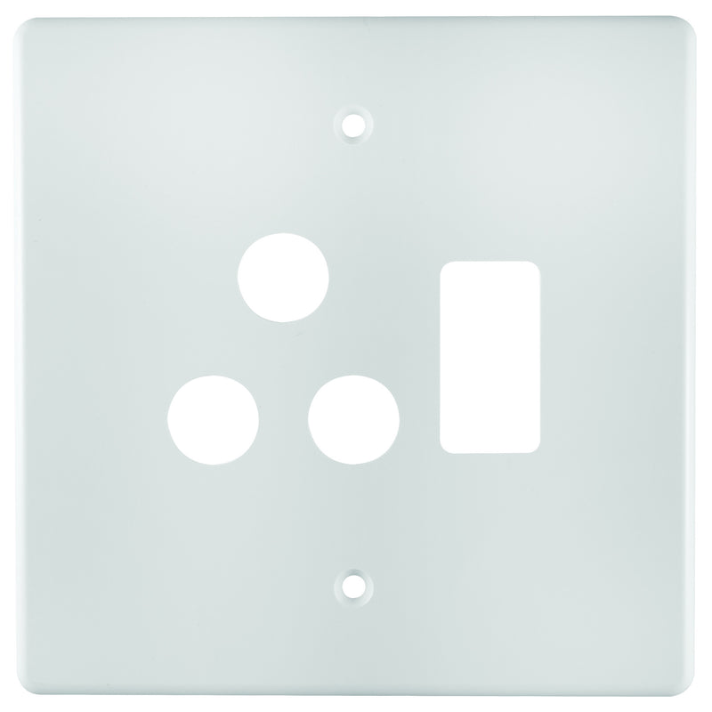 CRABTREE CLASSIC SINGLE SOCKET COVERPLATE STEEL 4X4