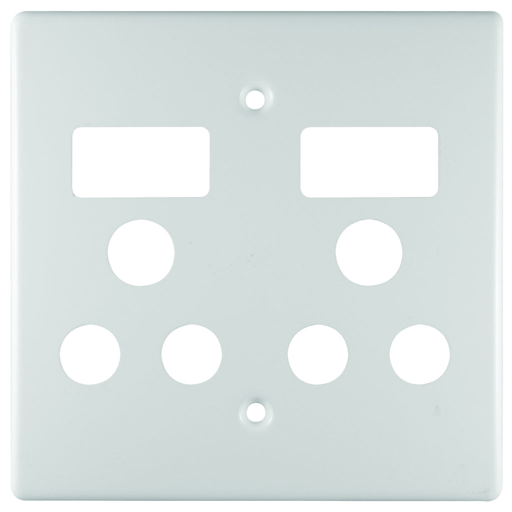CRABTREE CLASSIC DOUBLE SOCKET COVERPLATE STEEL 4X4