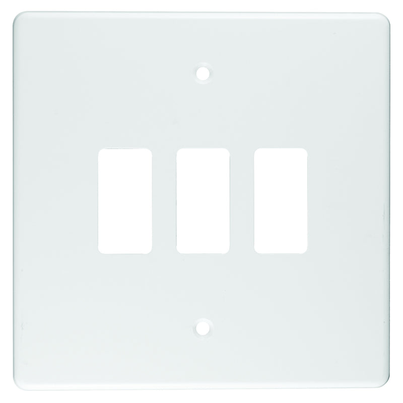 CRABTREE CLASSIC 3 LEVER COVERPLATE STEEL 4X4