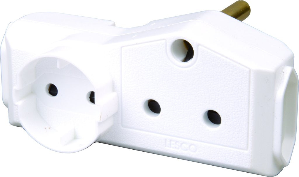 LESCO 1X SCHUKO & 1X15A OUTLET & 2X5A OUTLET ADAPTOR-V