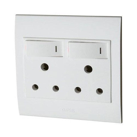 SCHNEIDER S3000 DOUBLE SWITCH SOCKET + COVER 4X4