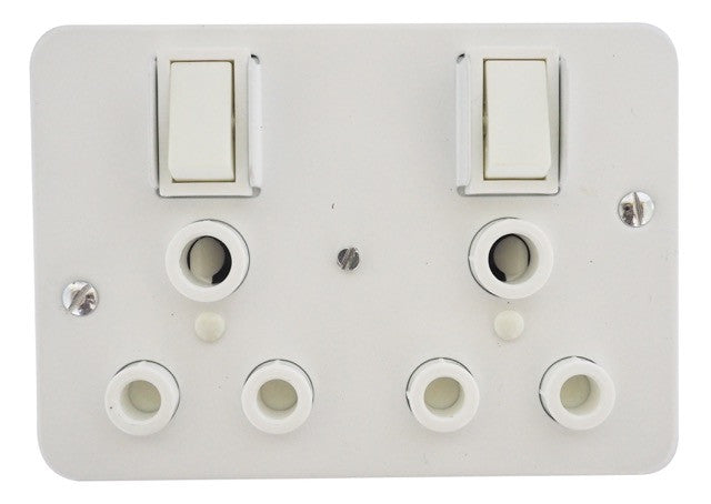 TITAN INDUSTRIAL DOUBLE SWITCH SOCKET + STEEL COVER 75x75