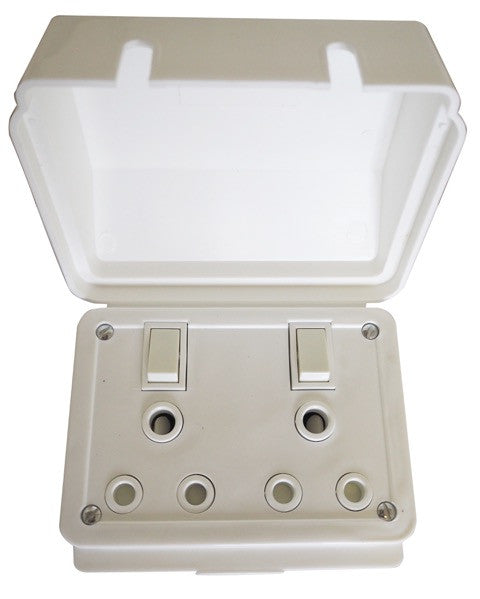 TITAN DOUBLE WEATHERPROOF SWITCH SOCKET + COVER 75x75
