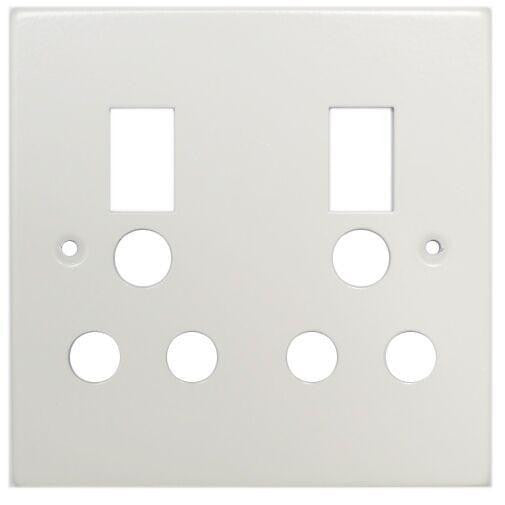 TITAN DOUBLE SWITCH SOCKET STEEL COVER PLATE 4X4