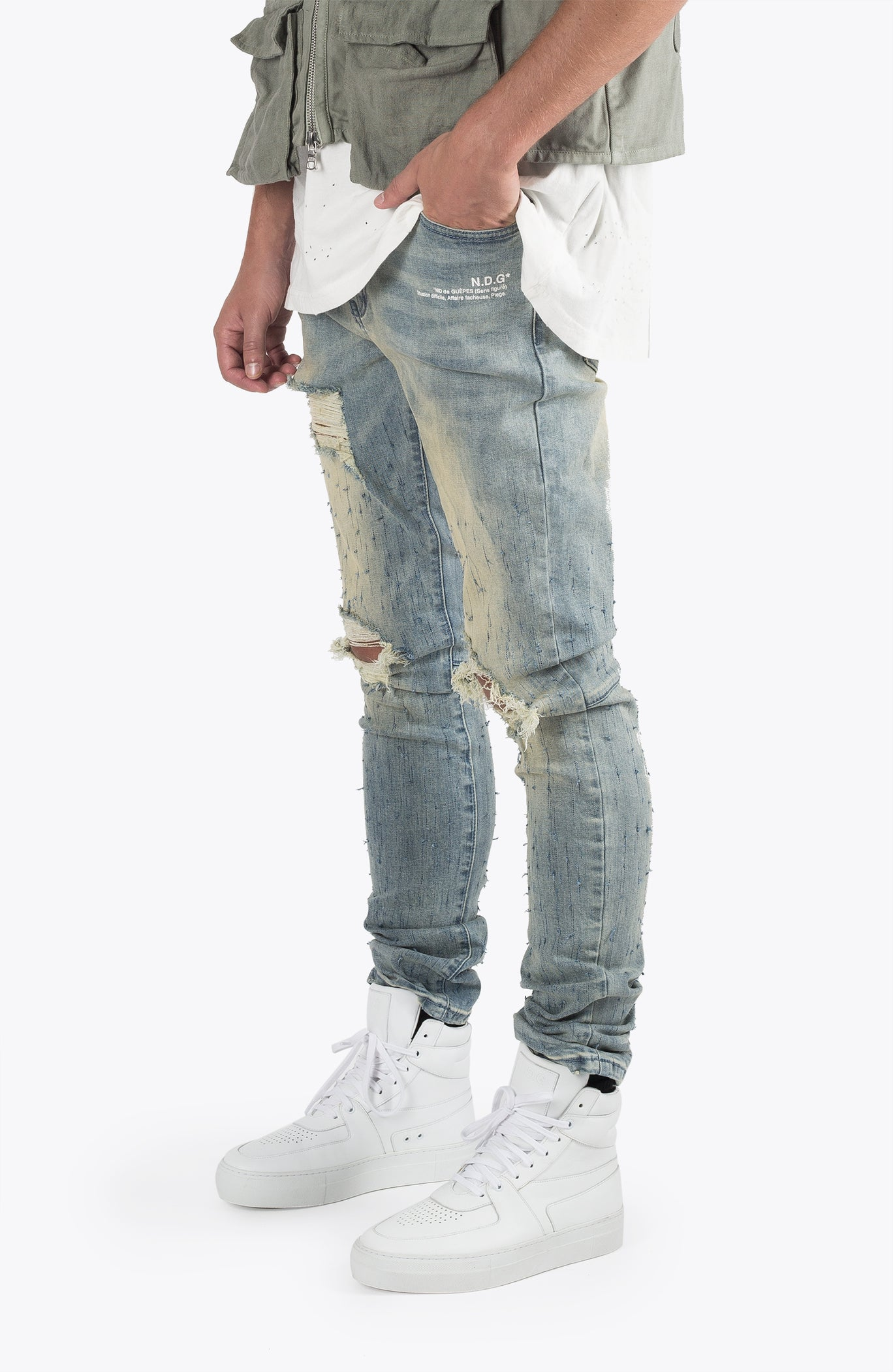 BIRDSHOT RIPPED DENIM