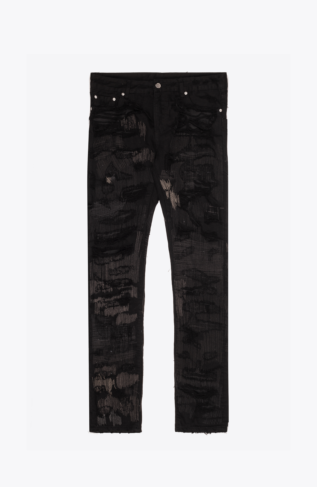 SUPER DESTROYED BLACK DENIM