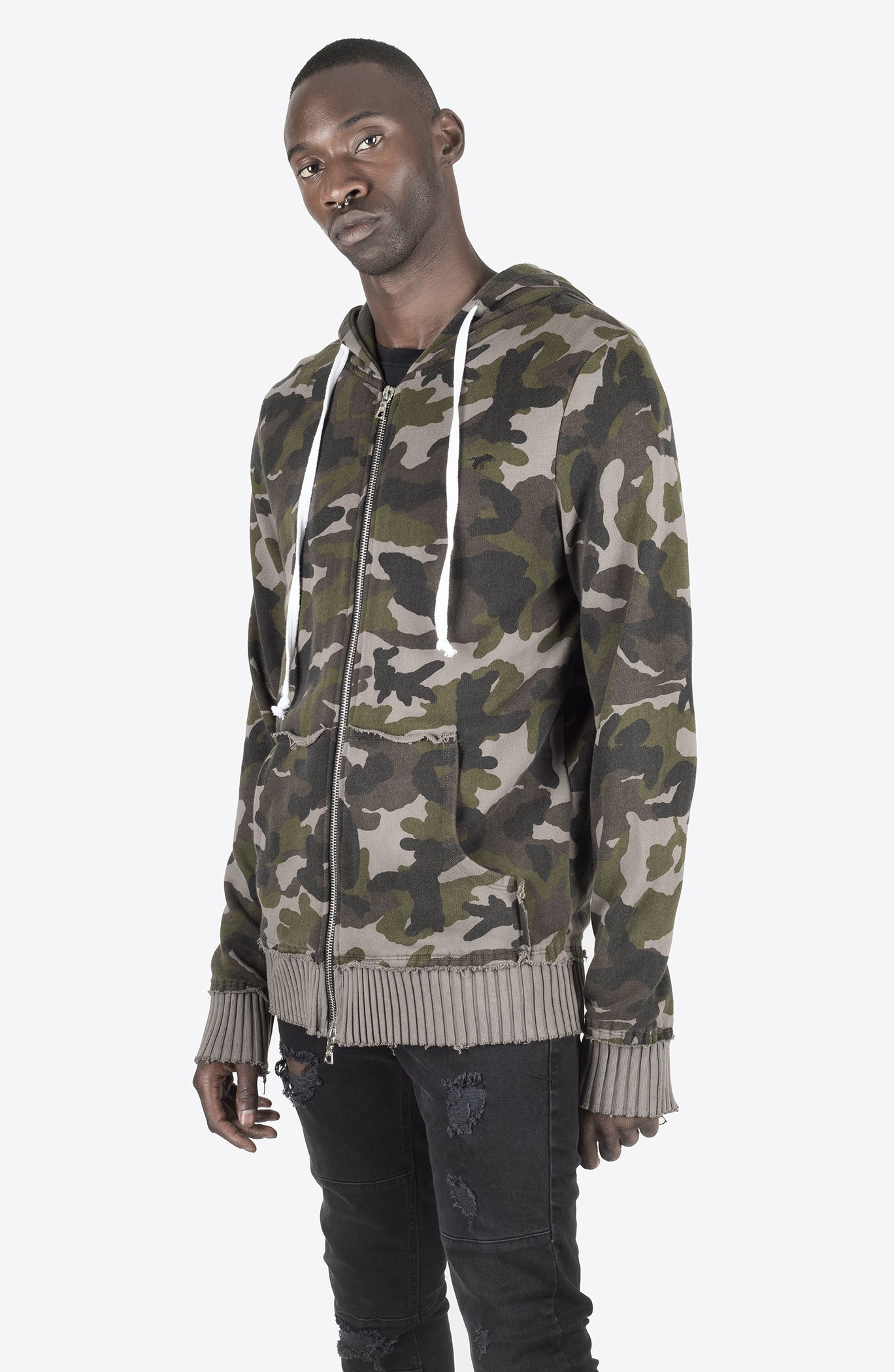 CAMO DISTRESSED HOODIE