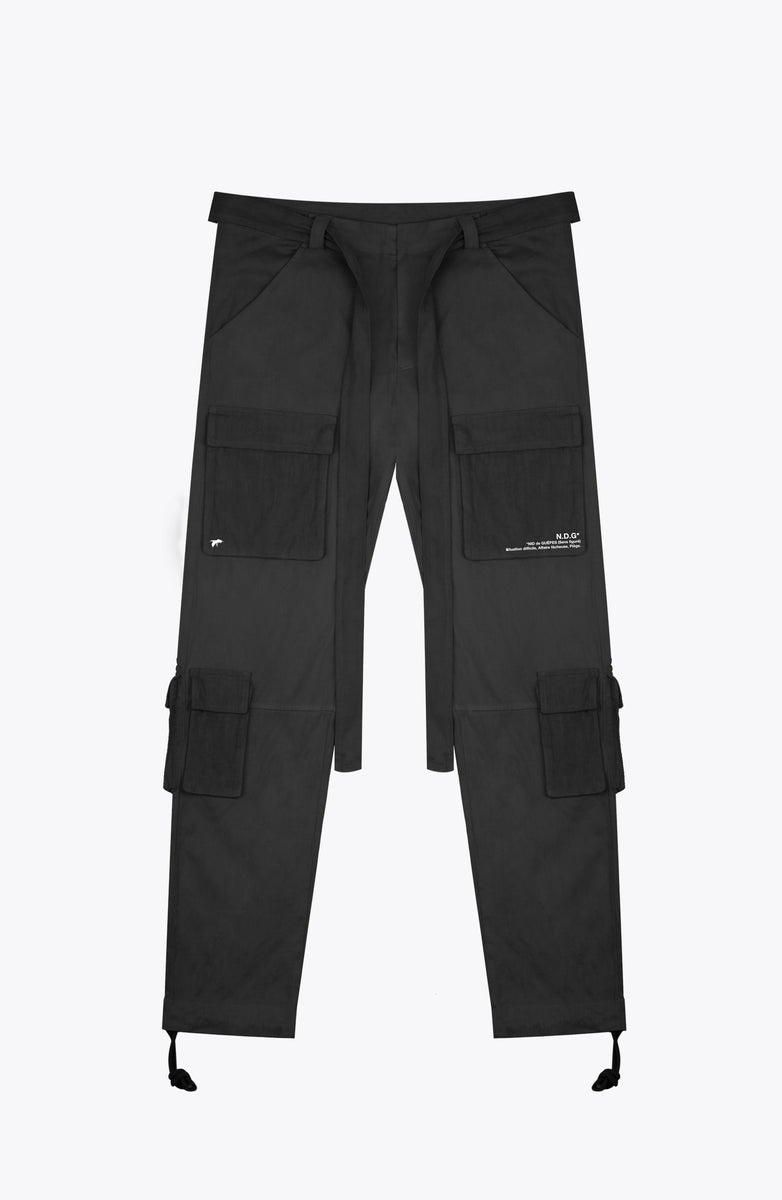 front pocket cargo pants - black