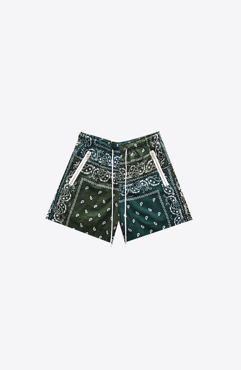 GREEN BANDANA RUNNING SHORT
