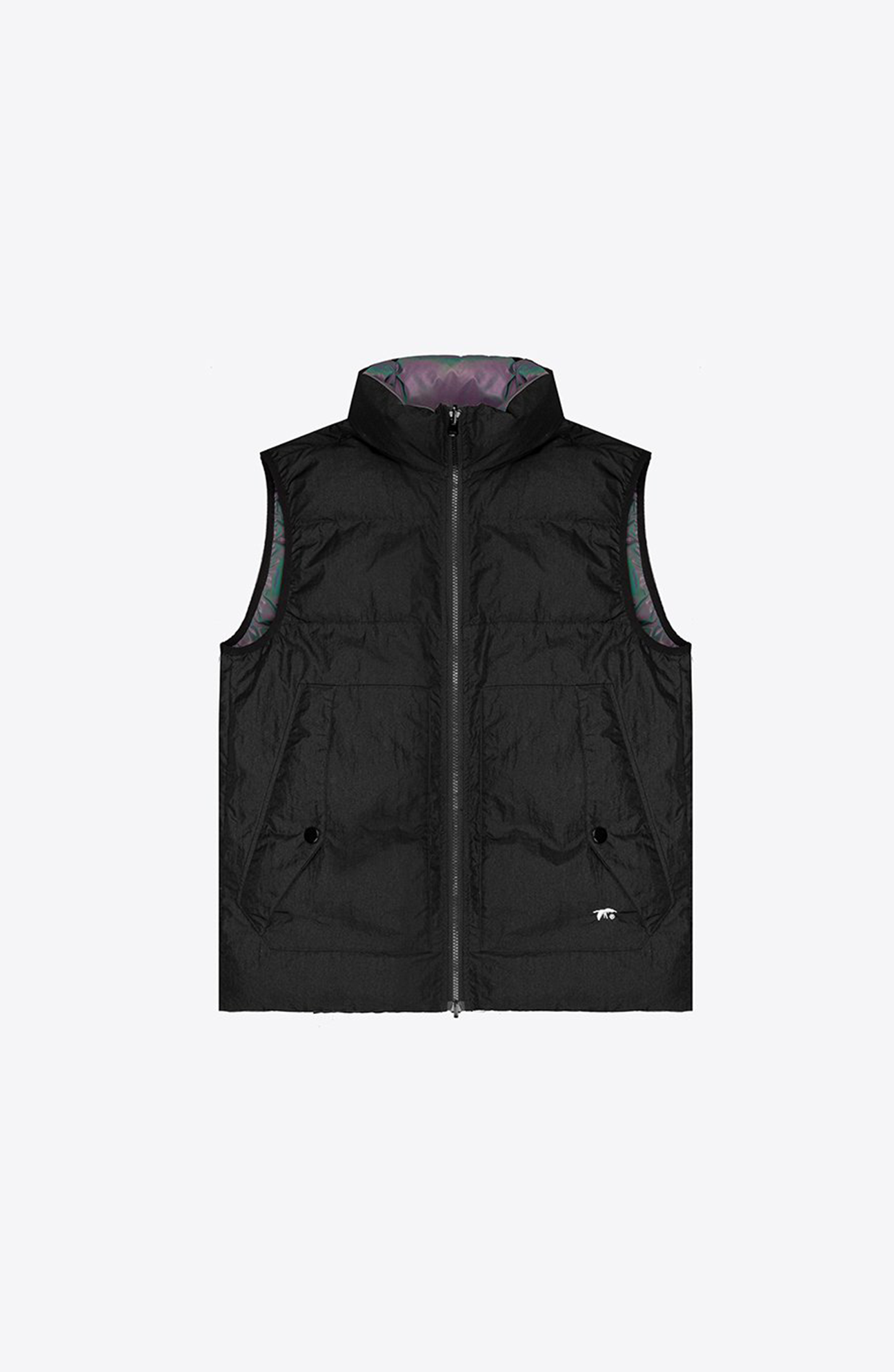 Reversible iridescent down vest