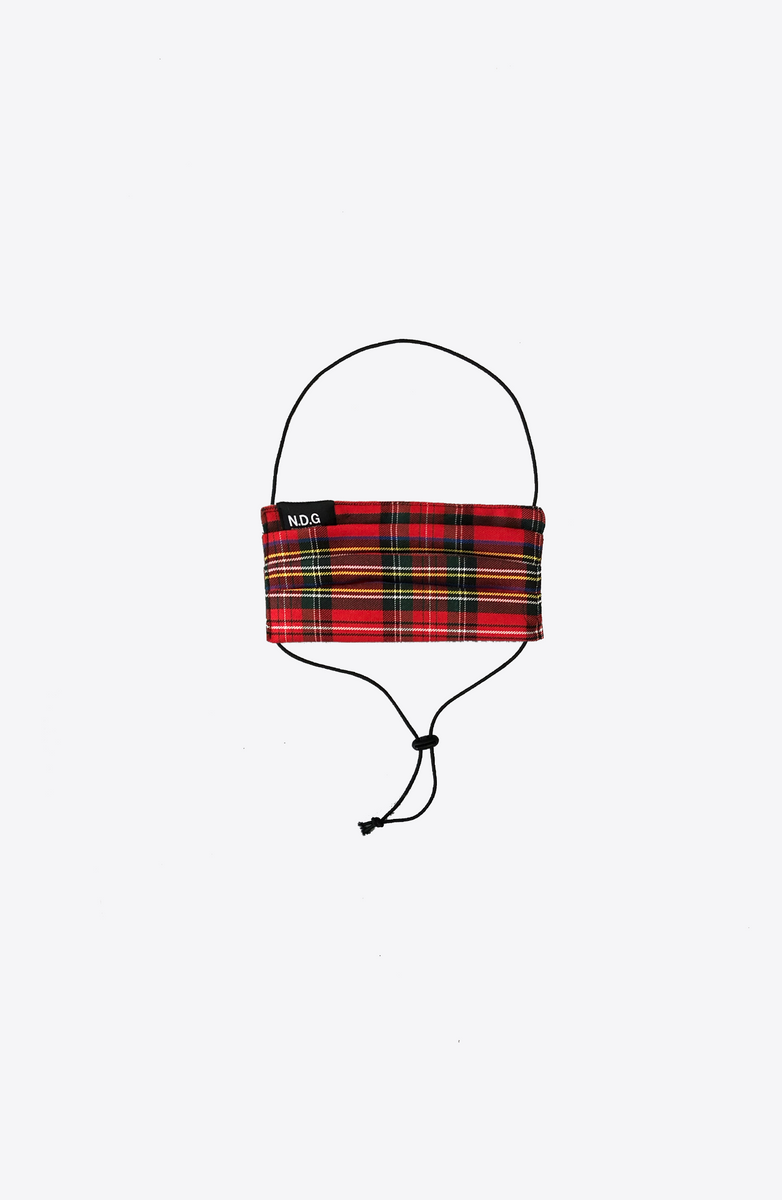 RED TARTAN ADJUSTABLE MASK