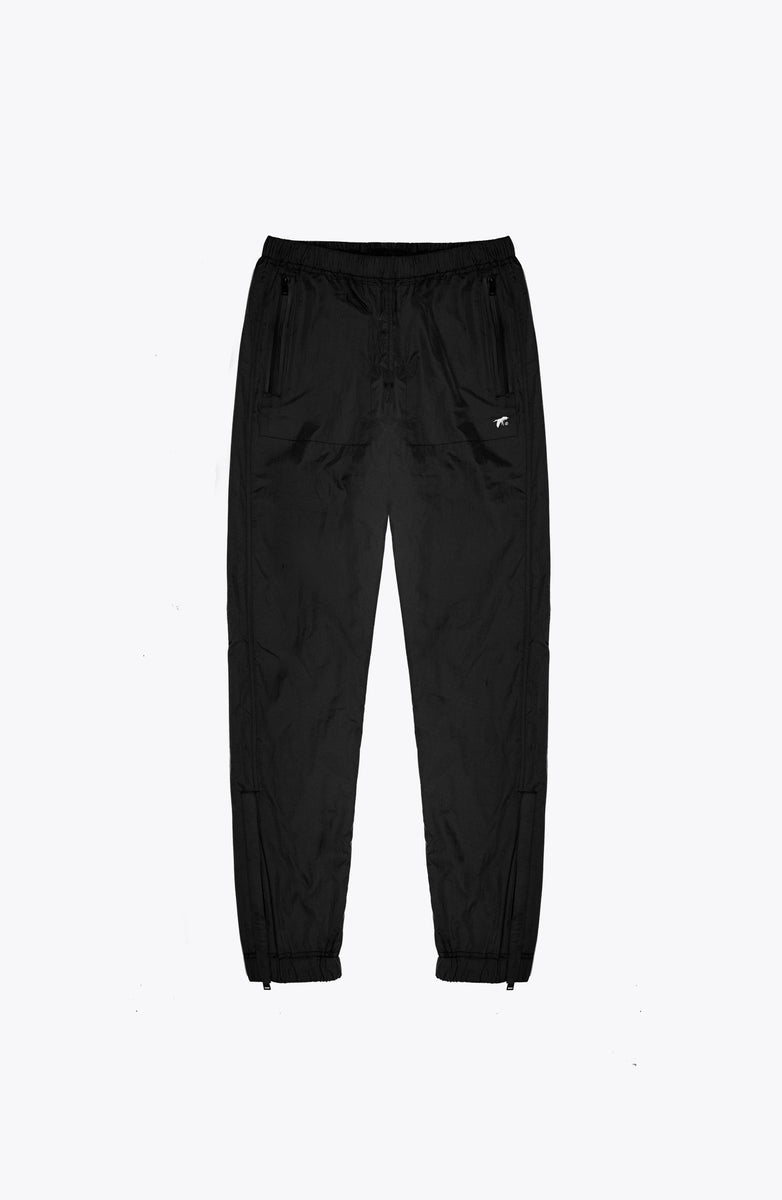 BLACK NYLON JOGGING TROUSERS