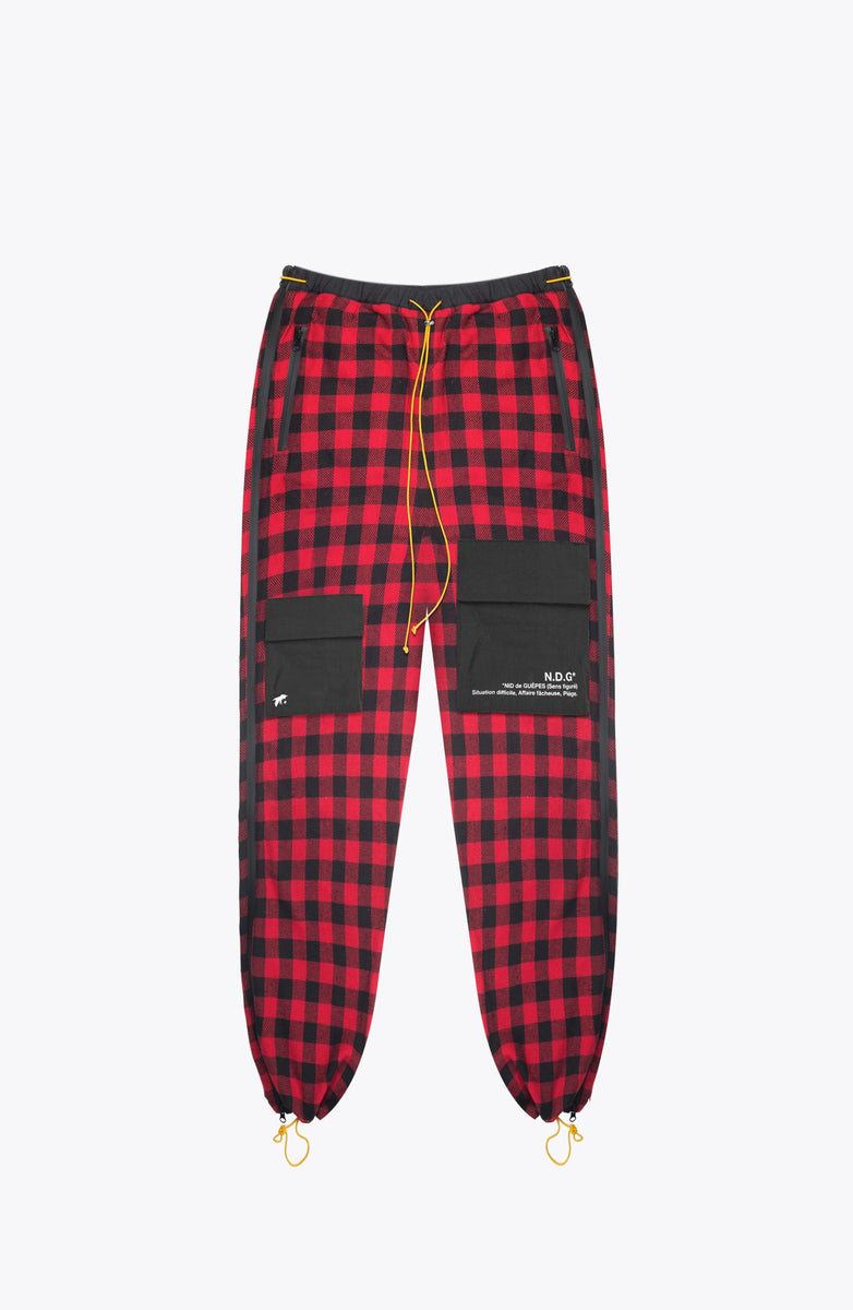 tactical cargo pants - red tartan
