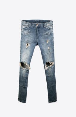BLUE RIPPED BIKER DENIM