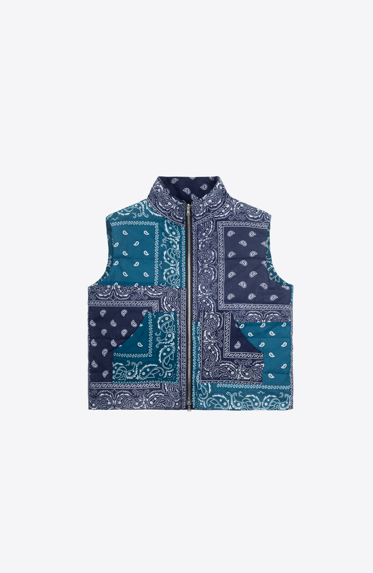Blue bandanas down vest