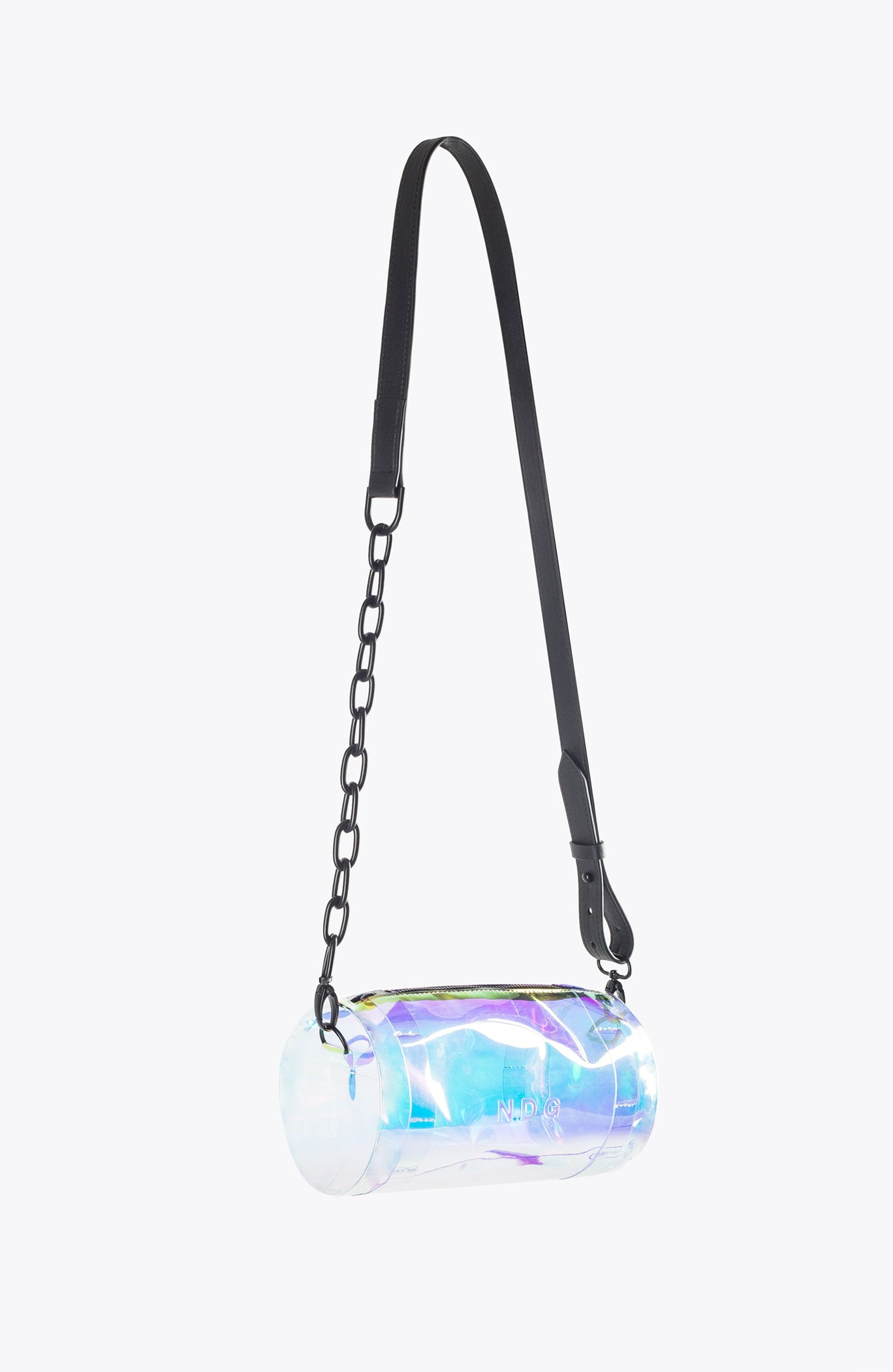 iridescent MINI BARREL BAG