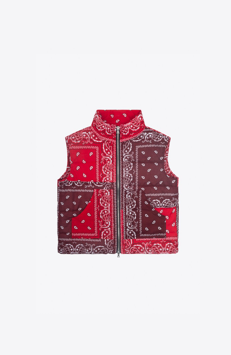 Red bandanas down vest