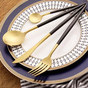 Leno Two Toned Flatware Set-flatware-Turtle Leaf