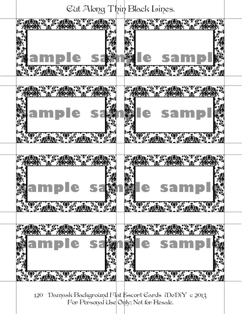 Damask Place Card Printable Template Flat Or Tented Styles – Arty ...