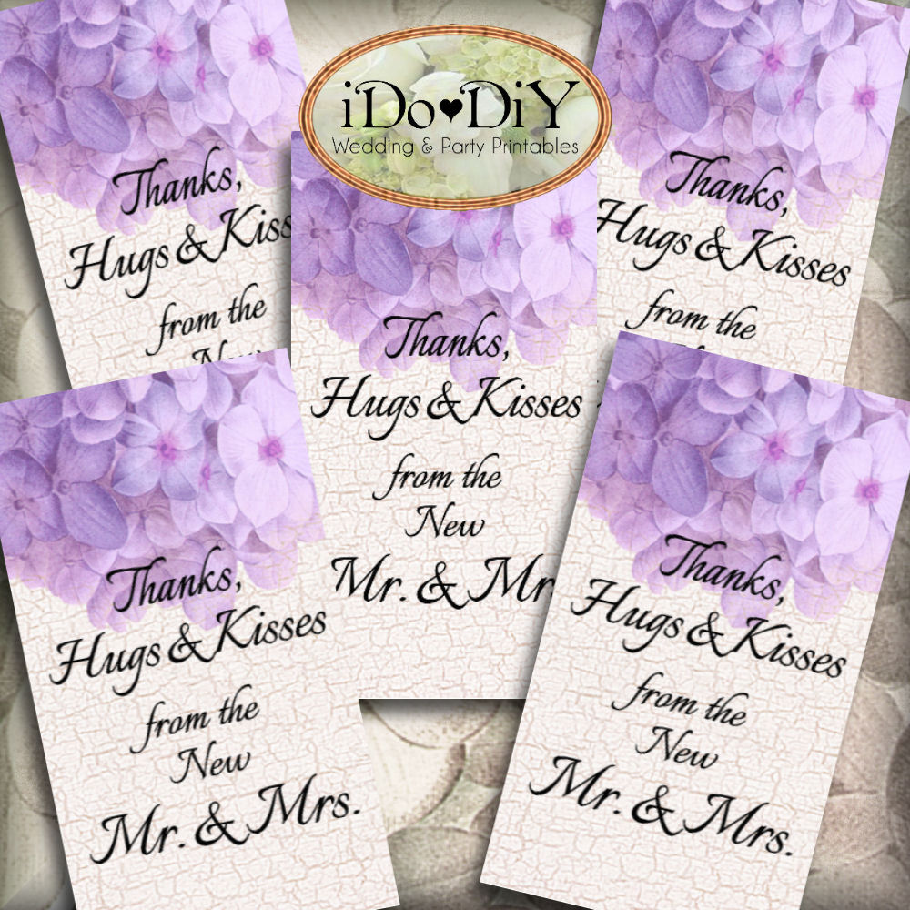 Purple Hydrangea Printable Wedding Thank You Favor Tags – Arty Cat ...