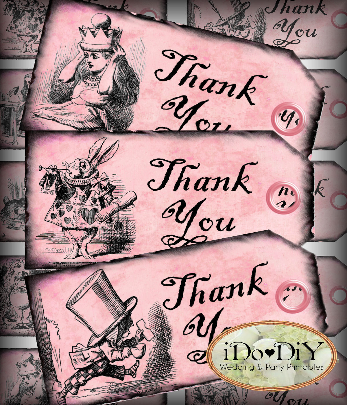 Alice In Wonderland Thank You Pink Favor Tags – Arty Cat Designs