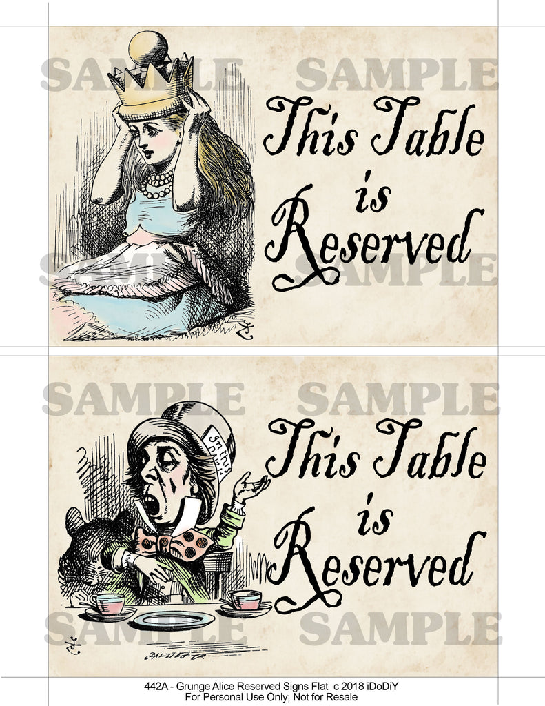 Alice In Wonderland Reserved Grunge Table Signs 5 X 7 Flat Or Tented