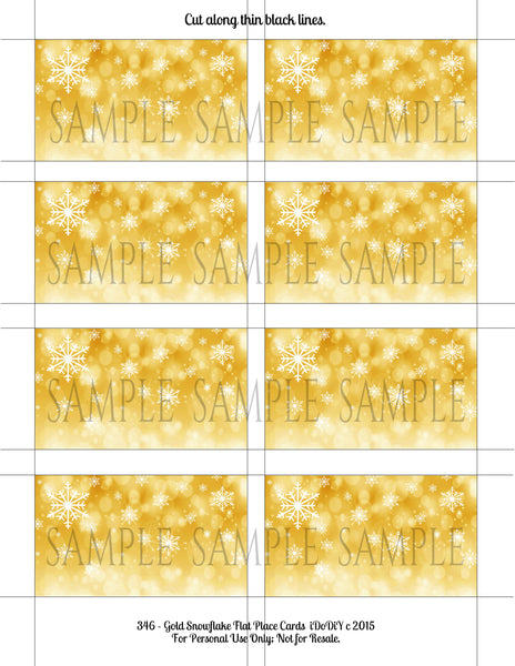 Christmas Winter Gold Snowflake Place Cards Template Flat Or Tented