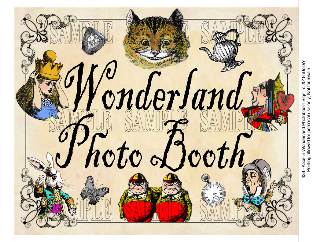 Alice In Wonderland Printable Photo Booth Sign Arty Cat Designs