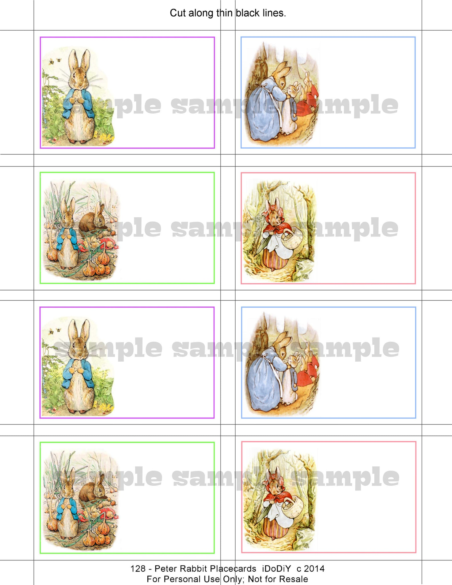 peter rabbit printable place card template download flat or tented