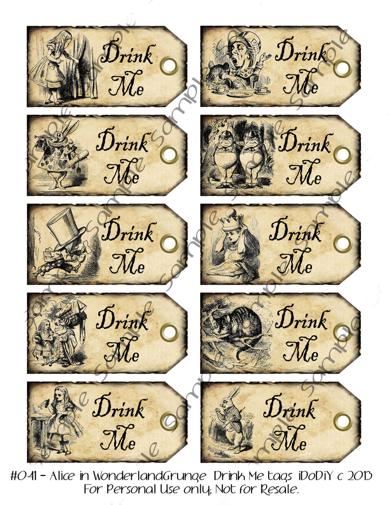 alice in wonderland tags template - alice in wonderland drink me tags in dark or light grunge