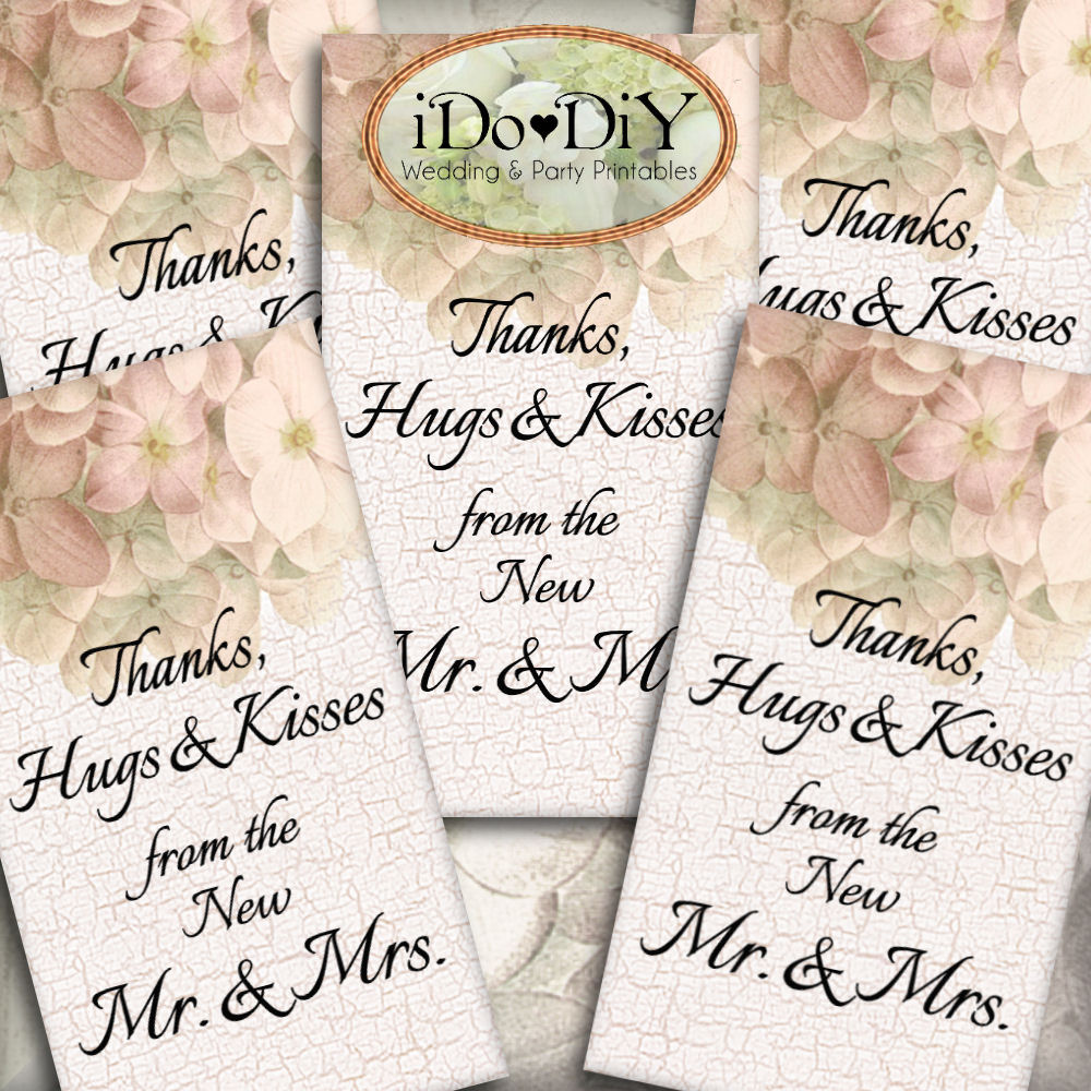 Pink Hydrangea Printable Wedding Thank You Favor Tags – Arty Cat Designs