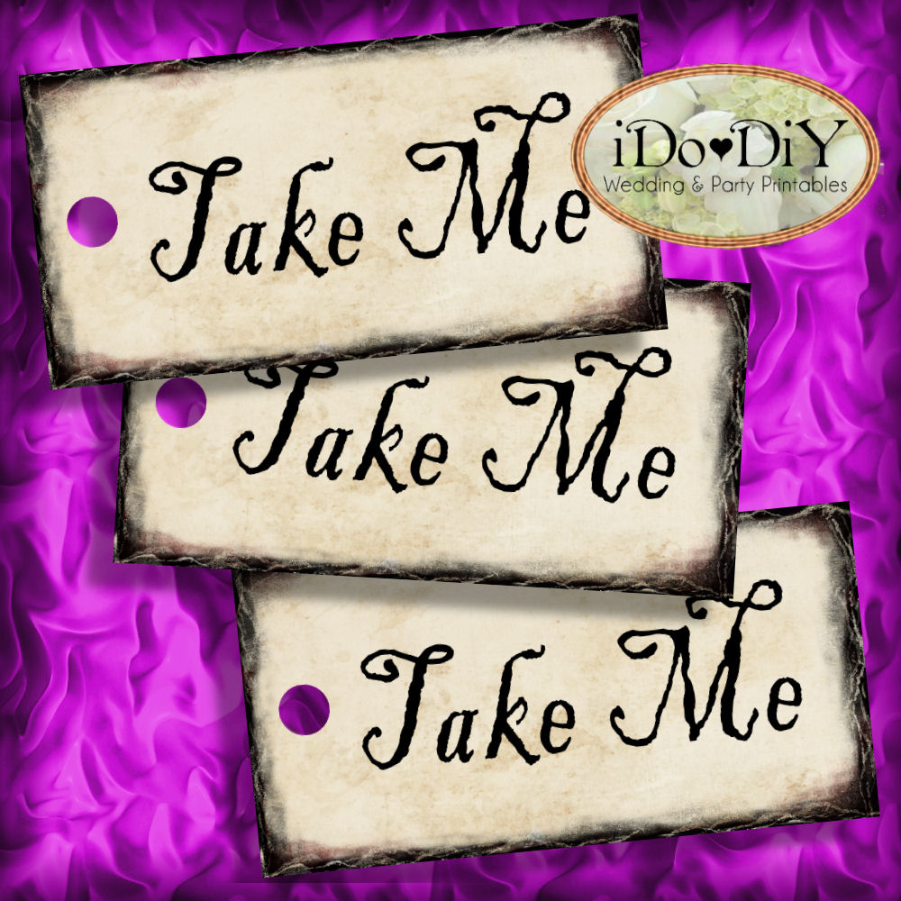 Alice In Wonderland Take Me Tea Party Favor Tags – Arty Cat Designs