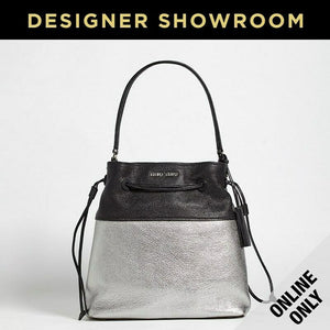 Miu Miu Silver and Black Leather Metallic Drawstring Bag