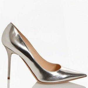 Jimmy Choo EUR 39.5 Leather Metallic Stiletto Upper Pumps ABELTGG_S