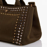 Prada Green Crystal Stud Canvas Convertible Tote