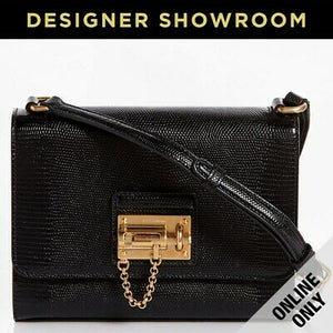 Dolce & Gabbana Monica Embossed Black Leather Crossbody Bag