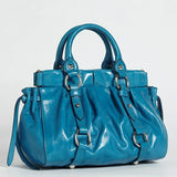 Miu Miu Laguna Blue Leather Convertible Mini Bucket Bag