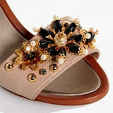 Dolce & Gabbana Women EUR 38 Embossed Leather Bejeweled Flower Heels CR0163